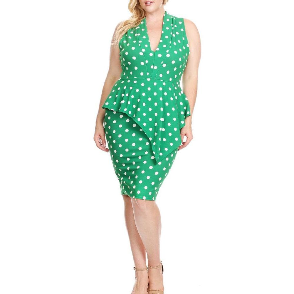Posh Shoppe: Plus Size Polka Dot Peplum Midi, Kelly Green Dress