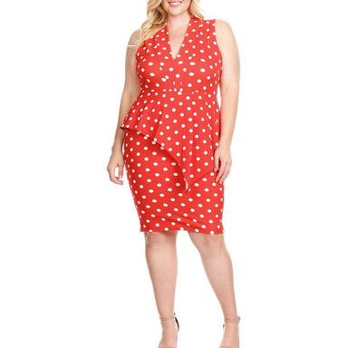 Posh Shoppe: Plus Size Polka Dot Peplum Midi, Poppy Red Dress