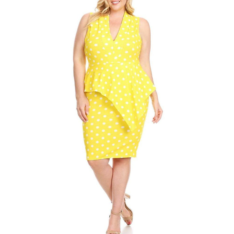 Posh Shoppe: Plus Size Polka Dot Peplum Midi, Yellow Dress