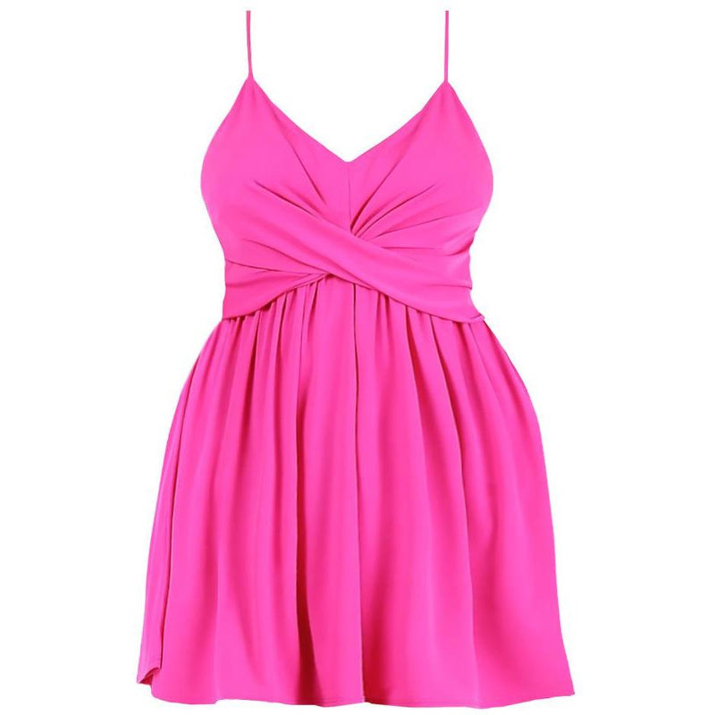 Posh Shoppe: Plus Size Swing Spaghetti Strap Dress, Pink Dress