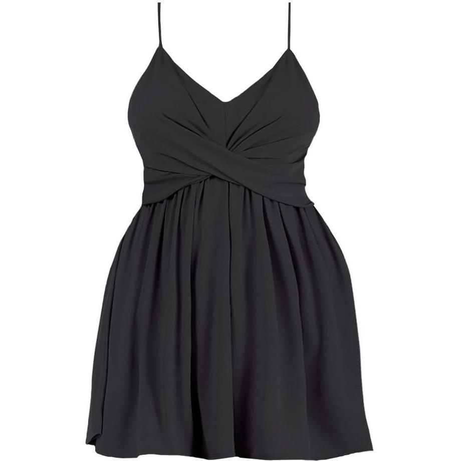 Posh Shoppe: Plus Size Swing Spaghetti Strap Dress, Black Dress