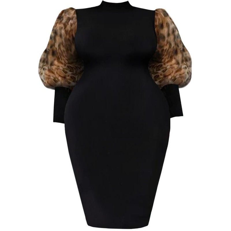 Plus Size Reversible Zip Up Dress, Leopard Print