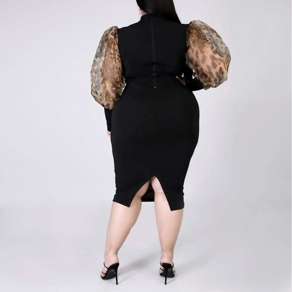Posh Shoppe: Plus Size Sheer Puff Sleeve LBD Dress