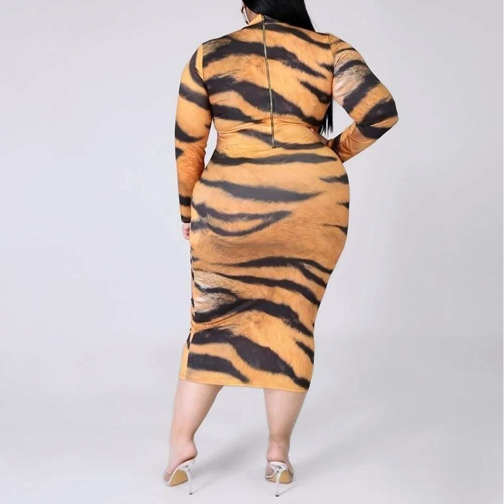 Posh Shoppe: Plus Size Reversible Zip Up Dress, Tiger Print Dress