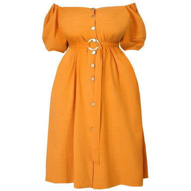Posh Shoppe: Plus Size Puff Sleeve Belted Midi Dress, Orange Dress