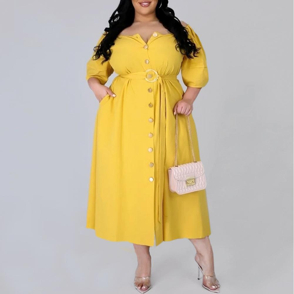 Posh Shoppe: Plus Size Puff Sleeve Belted Midi Dress, Yellow Dress