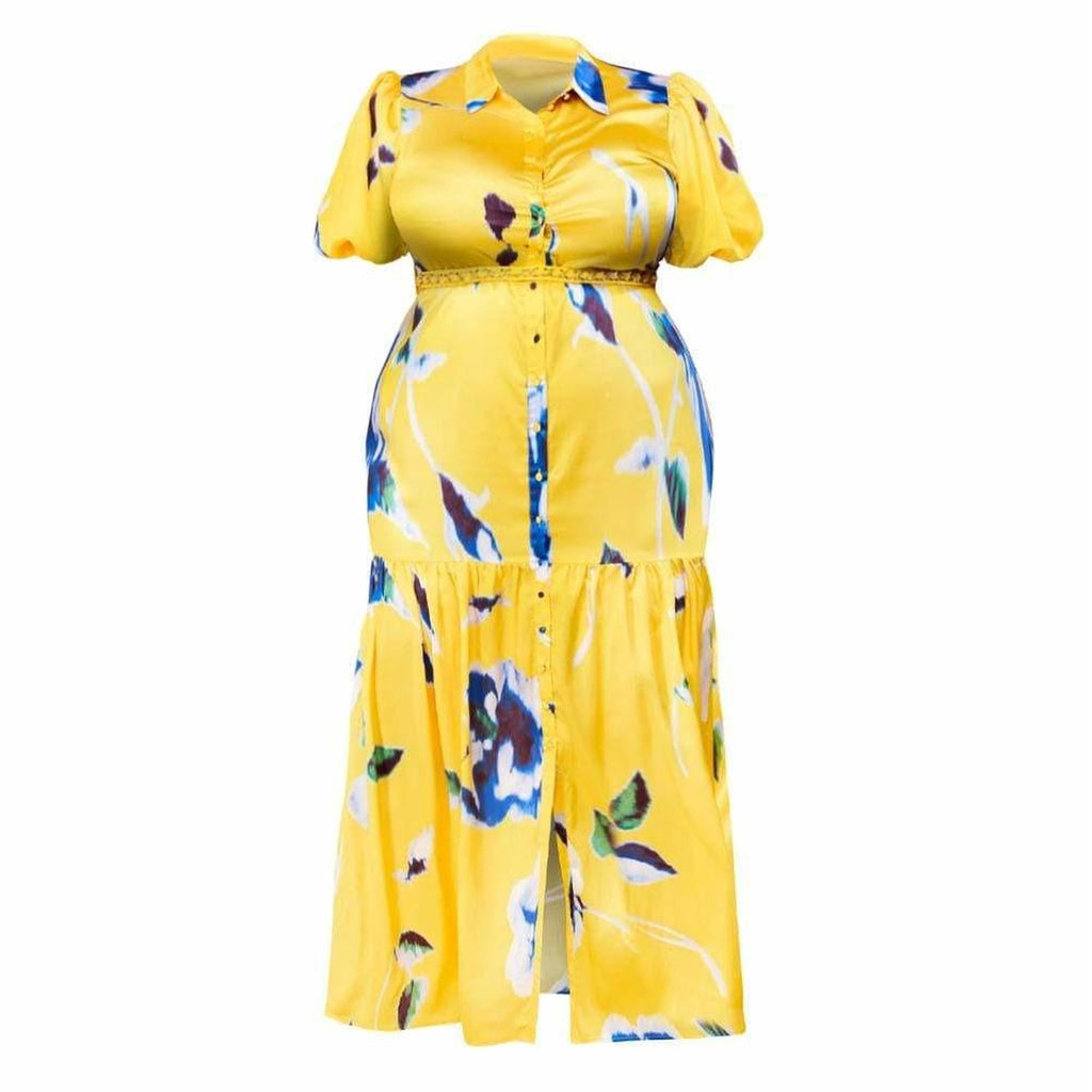 Plus Size Puff Sleeve Maxi Shirt Dress