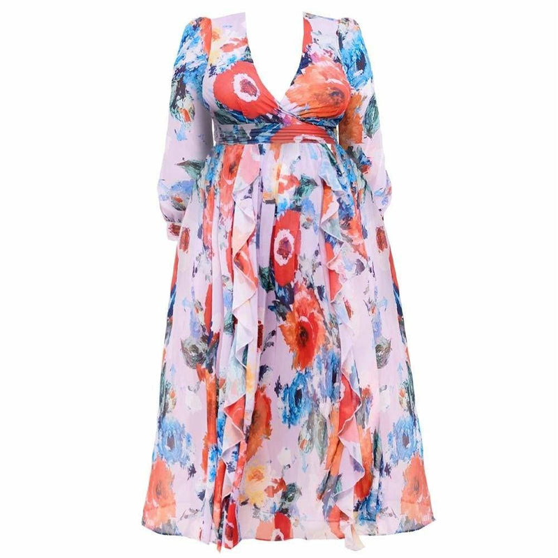 Plus Size Tiered Ruffle Tropical Print Gown