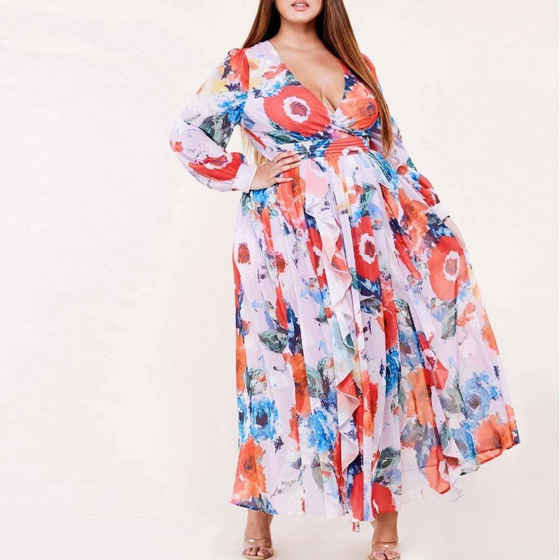 Plus Size Watercolor Floral Maxi Dress