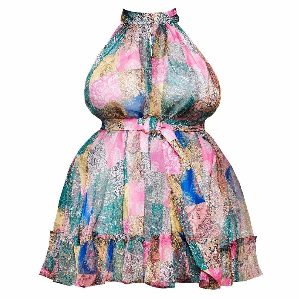 Plus Size Chiffon Mini Halter Dress, Scarf Print