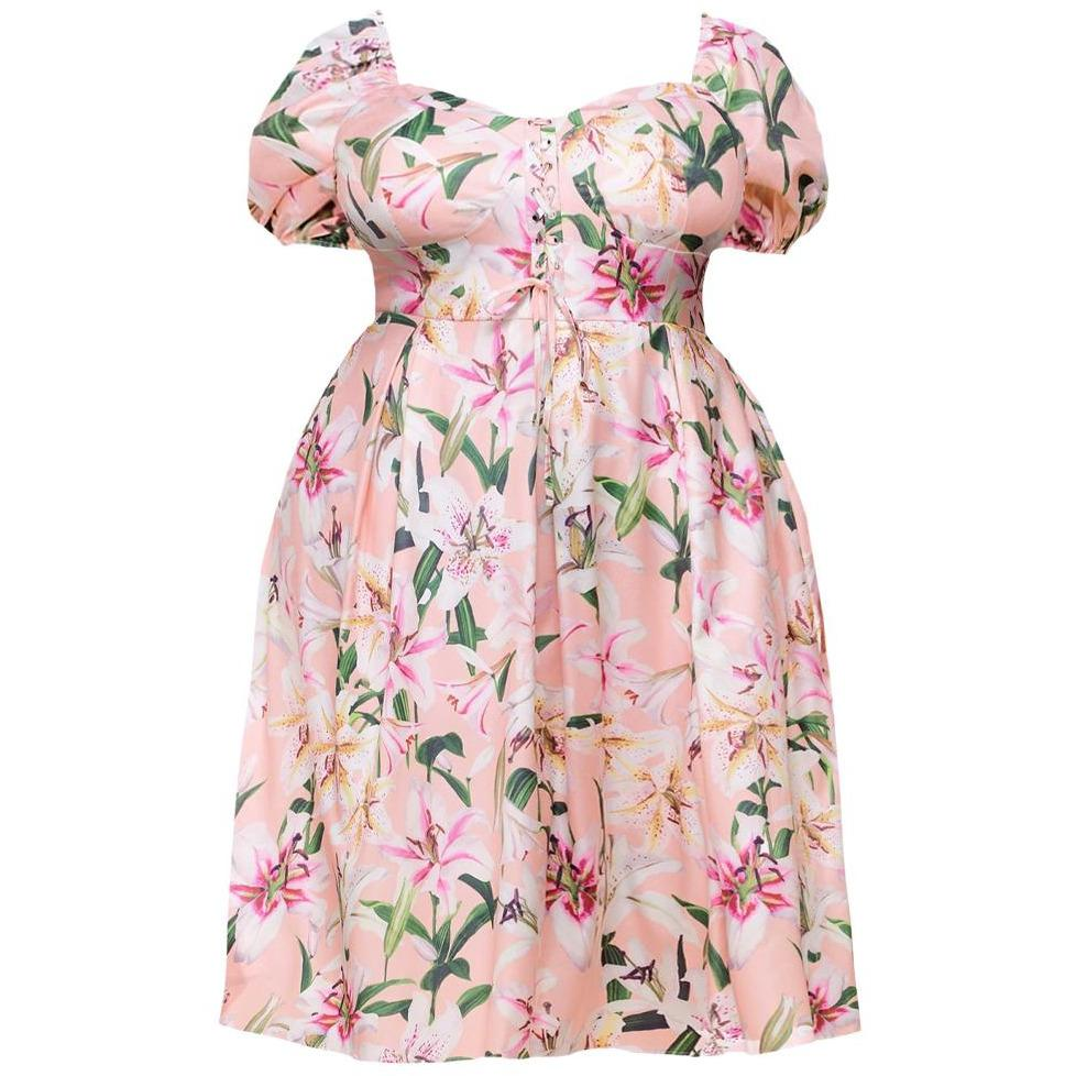 Plus Size Puff Sleeve Lace Up Midi Dress, Pink Floral