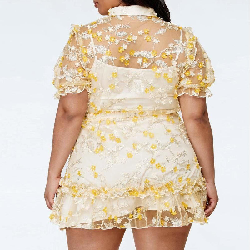Plus Size Sheer Mini Dress with Floral Overlay