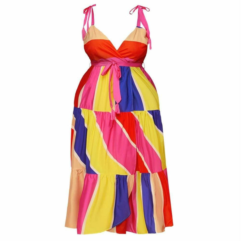 Plus Size Round Neck Mini Dress, Tie Dye Print