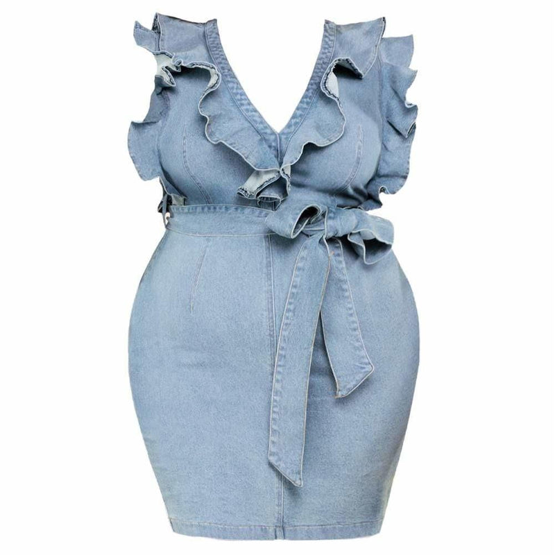 Plus Size Tie Waist Chambray Midi Dress