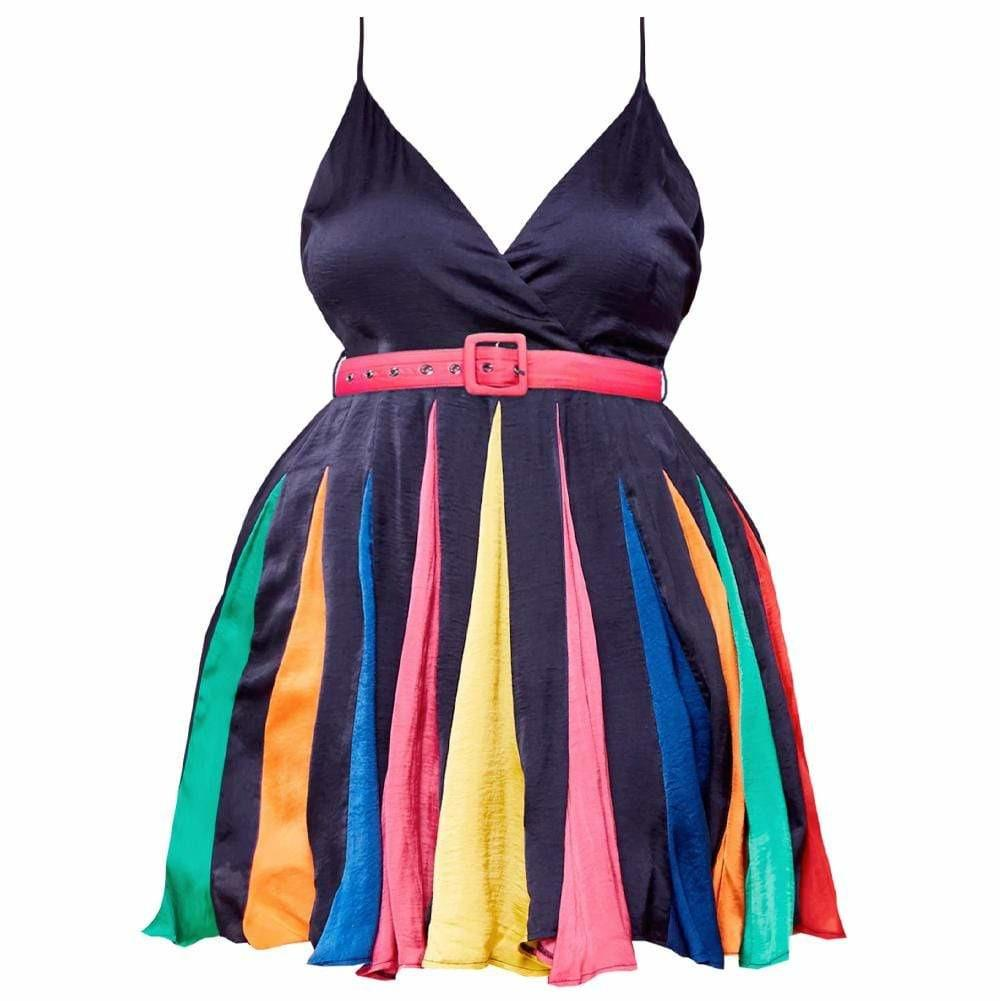 Plus Size Rainbow Pleat Belted Dress