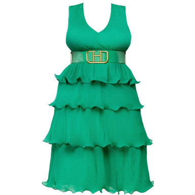 Posh Shoppe: Micro Layered Pleated V-Neckline Midi Dress-Green Dress