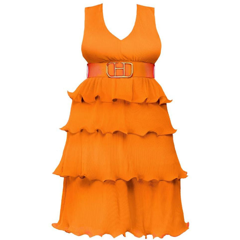 Plus Size Tiered Micro Pleat Midi with Belt, Orange