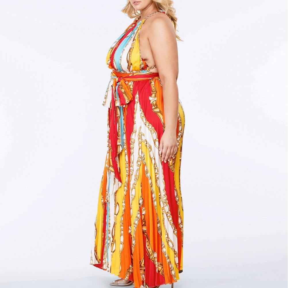 Plus Size Mutliway Chain Halter Maxi Dress