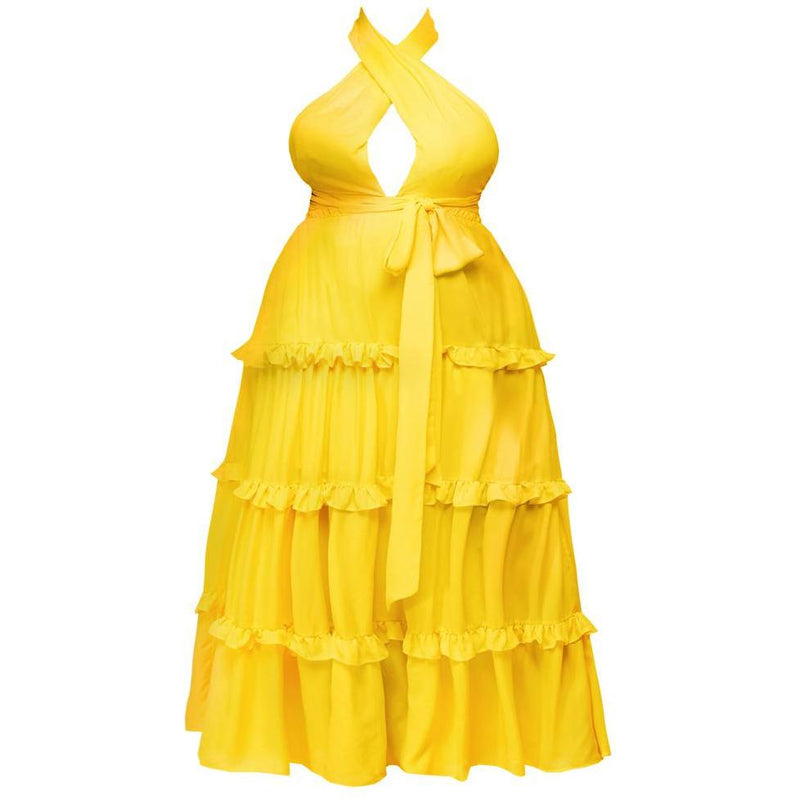 Plus Size Tiered Halter Maxi, Yellow