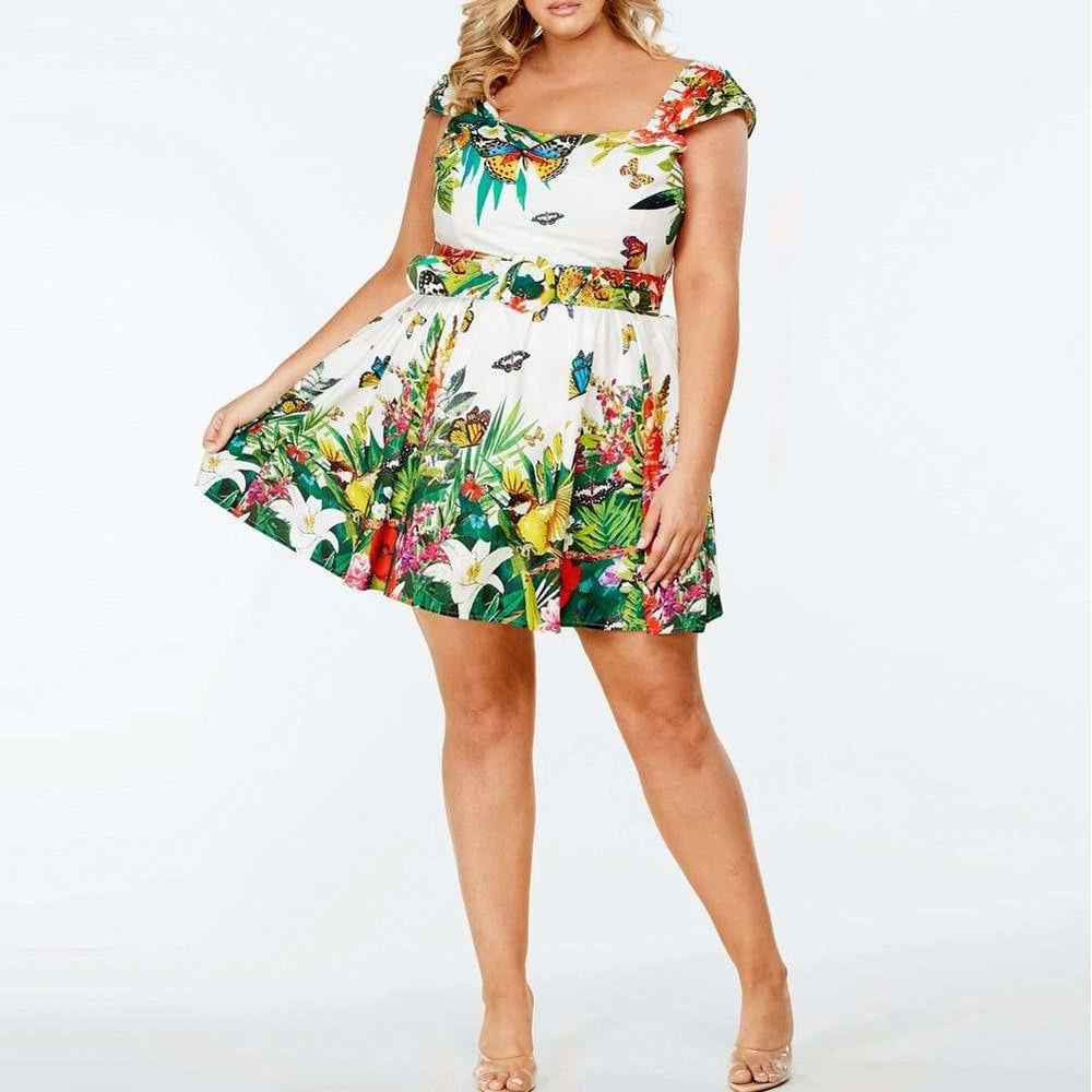 Plus Size Belted Mini Dress, Garden Print