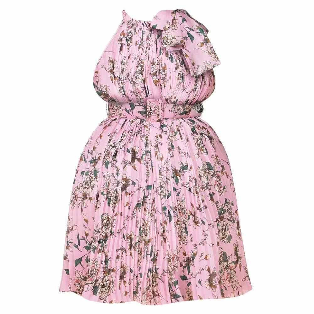 Plus Size Pleated Belted Halter Dress, Pink Florals