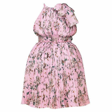 Posh Shoppe: Plus Size Pleated Belted Halter Dress, Pink Florals Dress