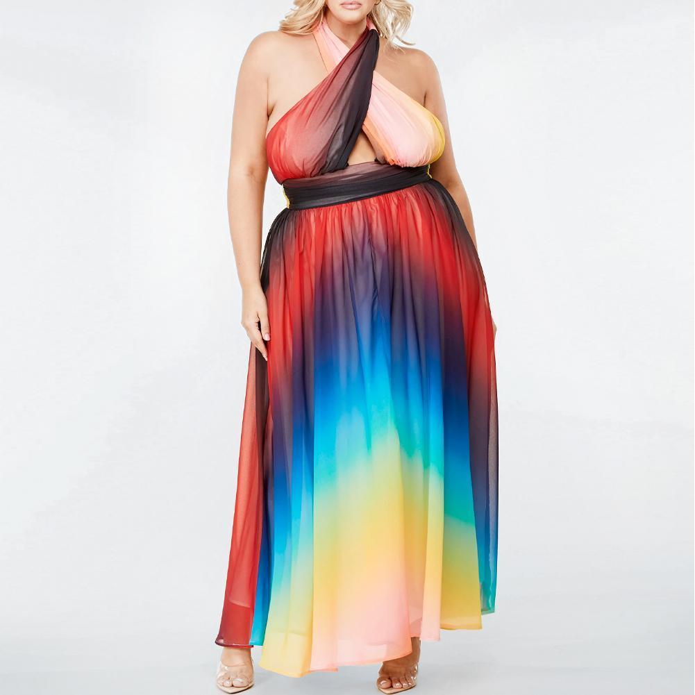 Posh Shoppe: Plus Size Rainbow Halter Chiffon Maxi Dress