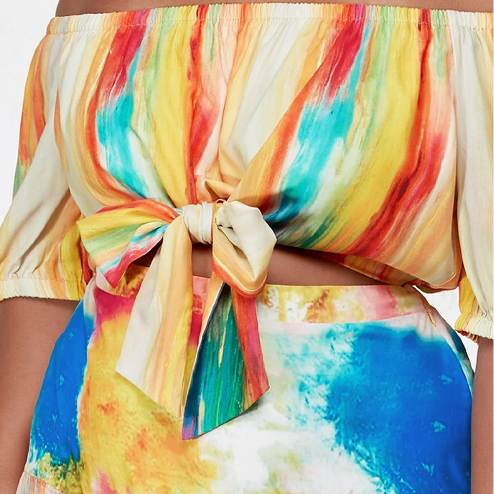 Plus Size Chiffon Top and Skirt Set, Artist Print