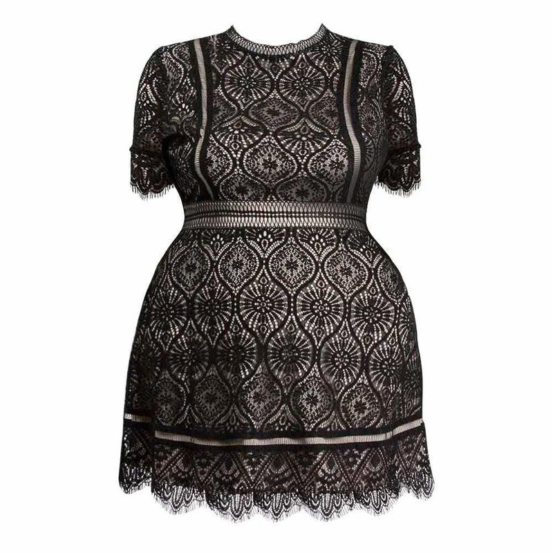 Plus Size Belted Pleat Mini Dress