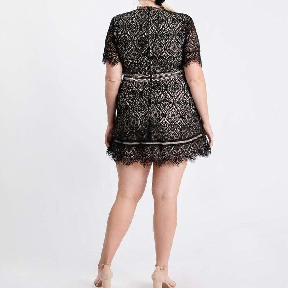 Plus Size Lace Mini Dress, Black