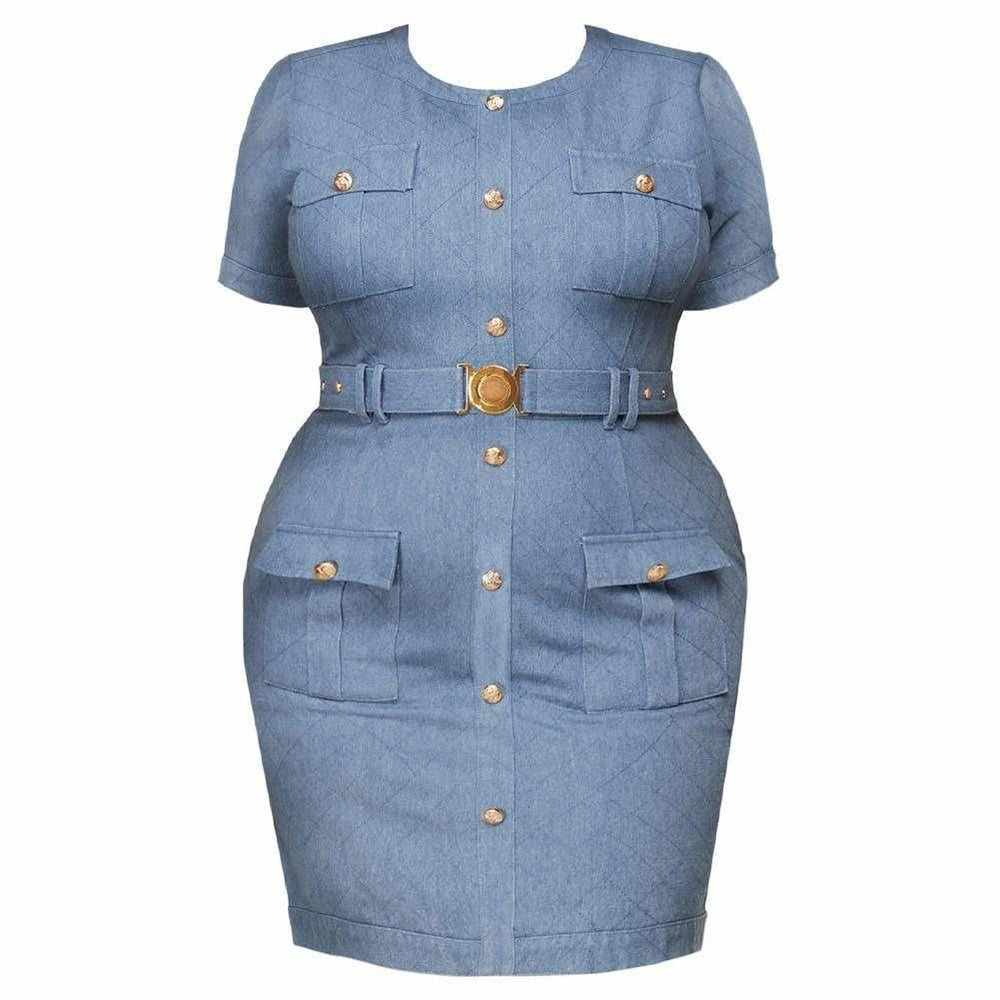 Plus Size Quilted Denim Dress