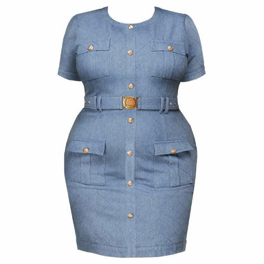 Posh Shoppe: Plus Size Quilted Denim Dress Dress
