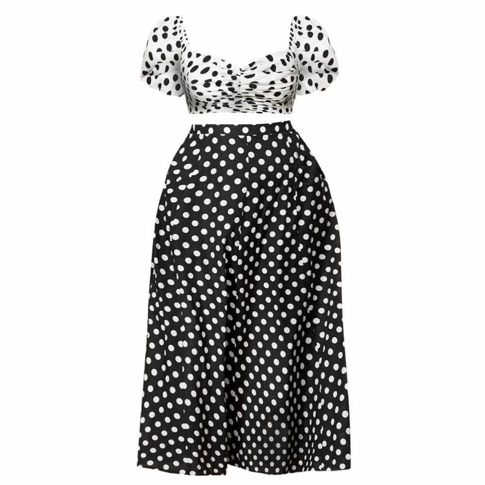Plus Size Puff Sleeve Top and Maxi Skirt Set, Polka Dot
