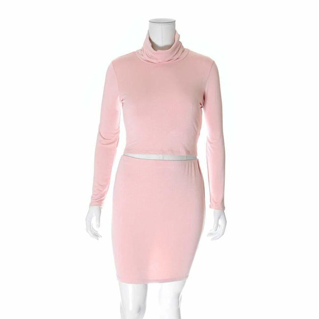 Posh Shoppe: Plus Size 2 Piece Co-Ord Turtleneck Top and Mini, Dusty Rose Dress