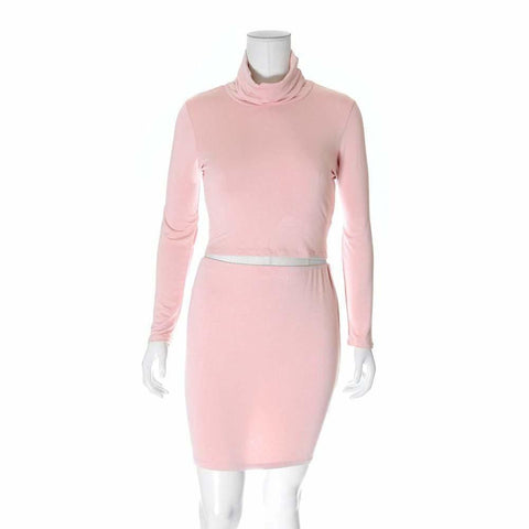 Plus Size 2 Piece Co-Ord Turtleneck Top and Mini, Dusty Rose