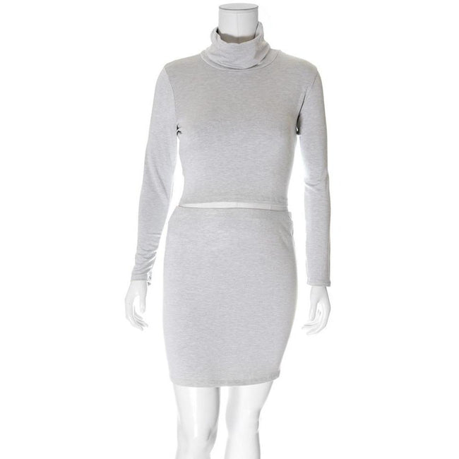 Posh Shoppe: Plus Size 2 Piece Co-Ord Turtleneck Top and Mini, Heather Gray Dress