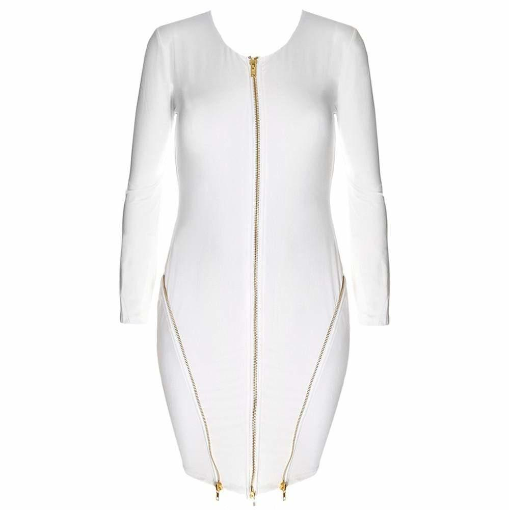 Posh Shoppe: Plus Size Zip Up Mini, White Dress