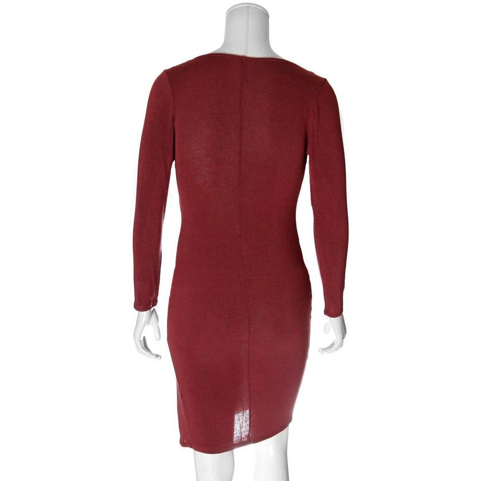 Posh Shoppe: Plus Size Slit Front Knit Sweater Dress, Brick Dress