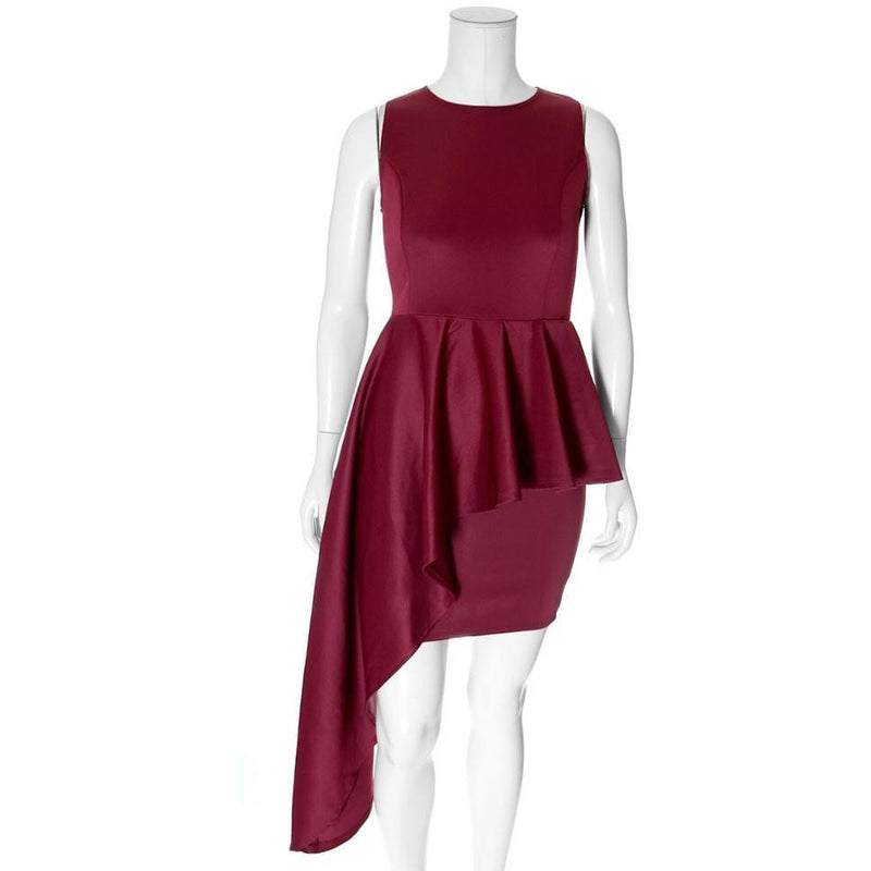 Posh Shoppe: Plus Size Waterfall Peplum Mini Dress, Oxblood Dress