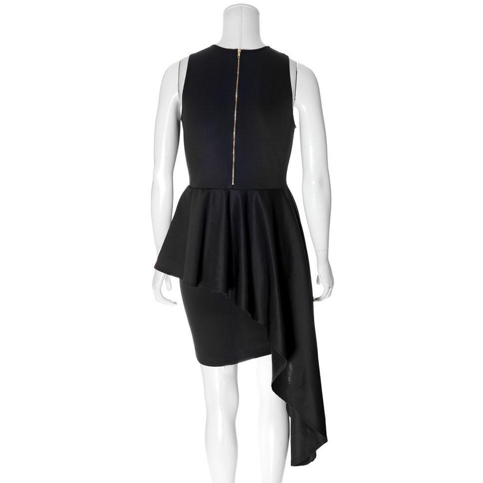 Posh Shoppe: Plus Size Waterfall Peplum Mini Dress, Black Dress