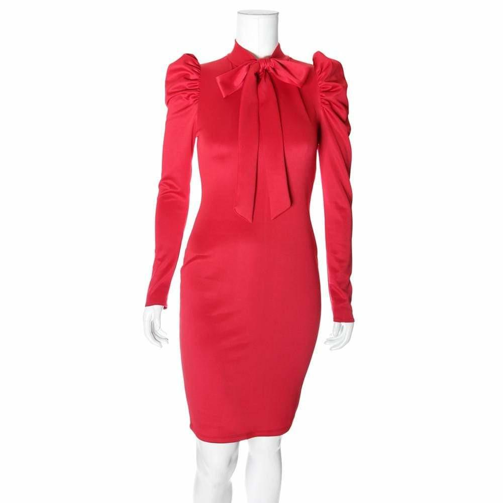 Posh Shoppe: Plus Size Blouse Neck Long Sleeve Suiting Dress, Red Dress