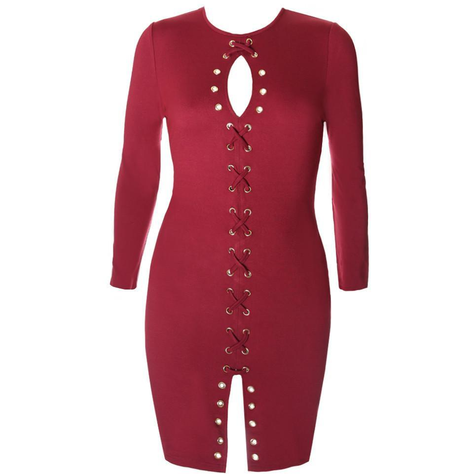 Posh Shoppe: Plus Size Gold Hardware Criss Cross Lace Up Dress, Burgundy Dress