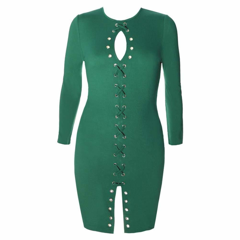 Plus Size Gold Hardware Criss Cross Lace Up Dress, Green