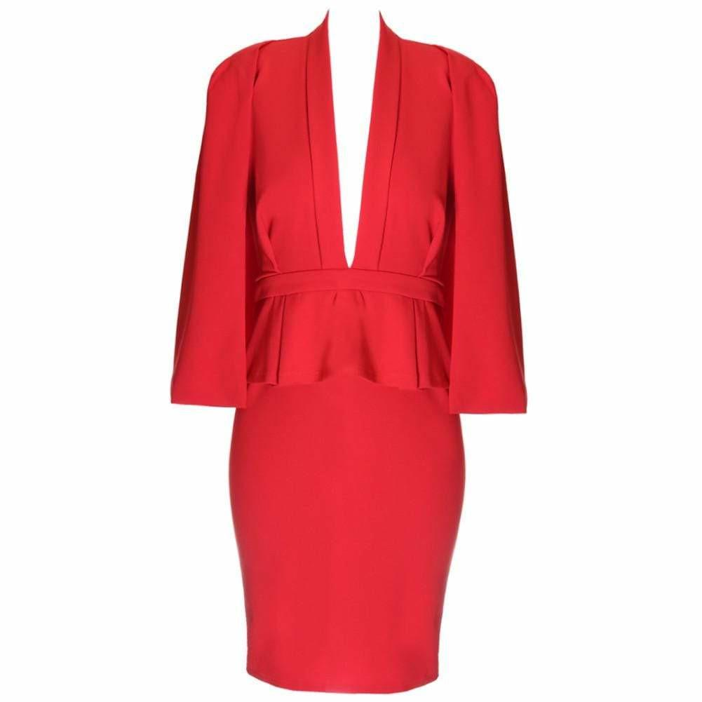 Plus Size Caped Peplum Suiting Dress, Red