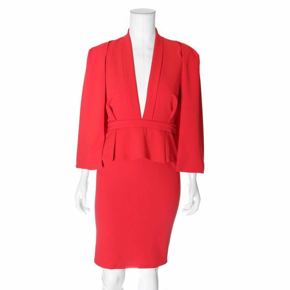 Posh Shoppe: Plus Size Caped Peplum Suiting Dress, Red Dress