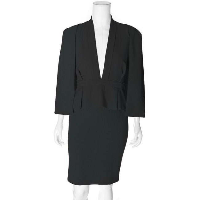 Posh Shoppe: Plus Size Caped Peplum Suiting Dress, Black Dress