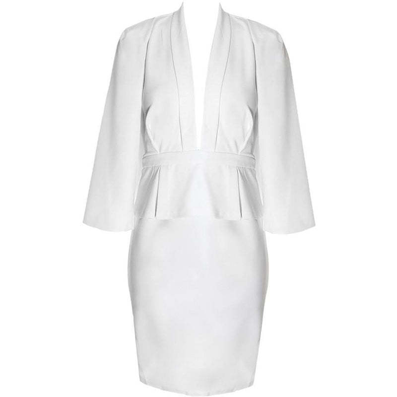 Posh Shoppe: Plus Size Caped Peplum Suiting Dress, White Dress