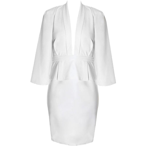 Plus Size Caped Peplum Suiting Dress, White