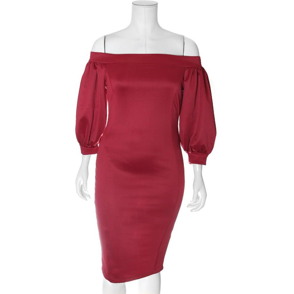 Posh Shoppe: Plus Size Bardot Puff Sleeve Dress, Sateen Red Dress