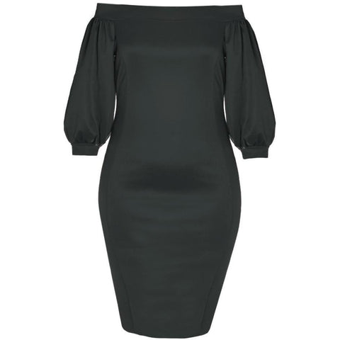 Plus Size Bardot Puff Sleeve Dress, Sateen Black